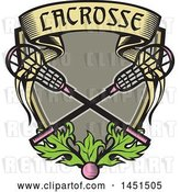 Vector Clip Art of Retro Woodcut Pink Ball and Pink Handled Lacrosse Sticks with a Banner and Leaves by Patrimonio