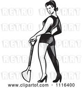 Vector Clip Art of Retro Woodcut Pinup Lady Standing with a Shovel by Patrimonio