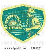 Vector Clip Art of Retro Woodcut Pizza Chef Holding a Peel with a Pie in Front of a Brick Oven by Patrimonio