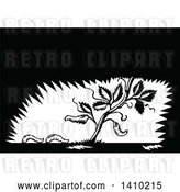 Vector Clip Art of Retro Woodcut Plant with Fallen Leaves Turning into Maggots by Patrimonio