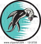 Vector Clip Art of Retro Woodcut Pliosaur Dinosaur Swimming in a Black, White and Turquoise Circle by Patrimonio