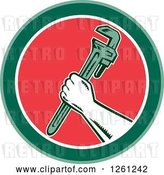 Vector Clip Art of Retro Woodcut Plumber Hand Holding a Monkey Wrench in a Green White and Red Circle by Patrimonio