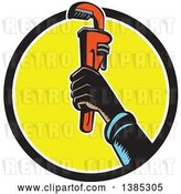 Vector Clip Art of Retro Woodcut Plumbers Hand Holding up a Monkey Wrench in a Black White and Yellow Circle by Patrimonio