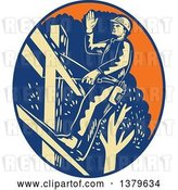 Vector Clip Art of Retro Woodcut Power Lineman Waving in an Orange Yellow and Blue Oval by Patrimonio