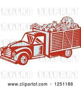 Vector Clip Art of Retro Woodcut Produce Delivery Truck by Patrimonio