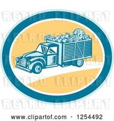 Vector Clip Art of Retro Woodcut Produce Delivery Truck in a Yellow and Blue Oval by Patrimonio