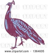 Vector Clip Art of Retro Woodcut Purple and Blue Peacock Bird by Patrimonio
