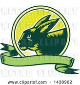 Vector Clip Art of Retro Woodcut Rabbit in a Sunrise Circle with a Green Banner by Patrimonio