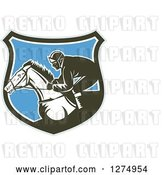 Vector Clip Art of Retro Woodcut Racing Jockey in a Gray Brown White and Blue Shield by Patrimonio