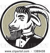 Vector Clip Art of Retro Woodcut Ram Goat in a Tuxedo, in a Black White and Taupe Circle by Patrimonio