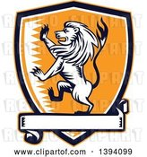 Vector Clip Art of Retro Woodcut Rampant Lion in a Black White and Orange Shield with a Banner by Patrimonio