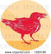Vector Clip Art of Retro Woodcut Raven Crow in an Orange Circle by Patrimonio
