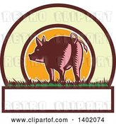 Vector Clip Art of Retro Woodcut Rear View of a Pig with a Curly Tail in a Circle with Text Space by Patrimonio