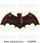 Vector Clip Art of Retro Woodcut Red and Black Flying Bat with a Yellow Outline by Patrimonio
