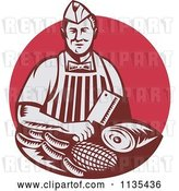 Vector Clip Art of Retro Woodcut Red Butcher Holding a Cleaver Knife over Meats by Patrimonio