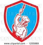 Vector Clip Art of Retro Woodcut Revolutionary Chef with a Spatula and Frying Pan in a Shield by Patrimonio