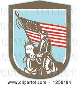 Vector Clip Art of Retro Woodcut Revolutionary Soldier Riding a Horse with an American Betsy Ross Flag in a Brown White and Blue Shield by Patrimonio