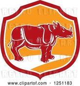 Vector Clip Art of Retro Woodcut Rhino in a Red and Orange Shield by Patrimonio