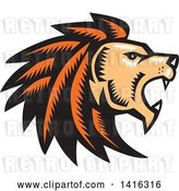 Vector Clip Art of Retro Woodcut Roaring Male Lion Head in Profile by Patrimonio