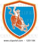 Vector Clip Art of Retro Woodcut Rodeo Cowboy on a Bull in a Yellow Orange White and Blue Shield by Patrimonio