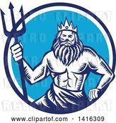 Vector Clip Art of Retro Woodcut Roman Sea God, Neptune or Poseidon, with a Trident in a White and Blue Circle by Patrimonio