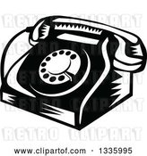 Vector Clip Art of Retro Woodcut Rotary Landline Desk Telephone by Patrimonio