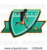 Vector Clip Art of Retro Woodcut Rugby Player Kicking on a Green Shield by Patrimonio