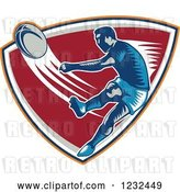 Vector Clip Art of Retro Woodcut Rugby Player Kicking on a Red Shield by Patrimonio