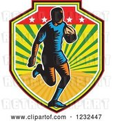 Vector Clip Art of Retro Woodcut Rugby Player Running in a Sunny Shield by Patrimonio