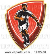 Vector Clip Art of Retro Woodcut Rugby Player Running over a Red Shield by Patrimonio