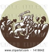Vector Clip Art of Retro Woodcut Samoan Legend Wielding a Club Nifo'oti Weapon Defeating the God with Taro Plant in a Circle by Patrimonio