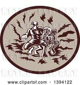 Vector Clip Art of Retro Woodcut Samoan Tiitii Wrestling the God of Earthquake and Breaking His Arm, in a Brown Oval by Patrimonio