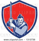 Vector Clip Art of Retro Woodcut Samurai Warrior Holding a Katana in a Blue White and Red Shield by Patrimonio