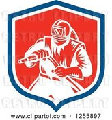 Vector Clip Art of Retro Woodcut Sandblaster in a Shield by Patrimonio