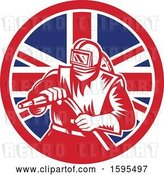 Vector Clip Art of Retro Woodcut Sandblaster Worker in a Union Jack Flag Circle by Patrimonio