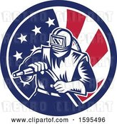 Vector Clip Art of Retro Woodcut Sandblaster Worker in an American Flag Circle by Patrimonio