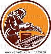Vector Clip Art of Retro Woodcut Sandblaster Working in a Marroon White and Orange Circle by Patrimonio