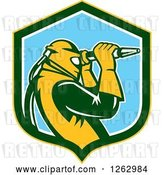 Vector Clip Art of Retro Woodcut Sandblaster Working in a Yellow Green White and Blue Shield by Patrimonio