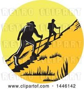 Vector Clip Art of Retro Woodcut Scene of Hikers Climbing a Trail by Patrimonio