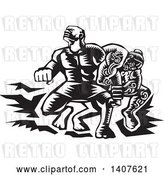 Vector Clip Art of Retro Woodcut Scene of Samoan Tiitii Wrestling the God of Earthquake and Breaking His Arm by Patrimonio