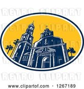 Vector Clip Art of Retro Woodcut Scene of the Cathedral Basilica of St Augustine, Florida, USA by Patrimonio