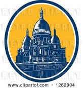 Vector Clip Art of Retro Woodcut Scene of the Dome of the Basilica of the Sacred Heart of Paris by Patrimonio