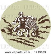 Vector Clip Art of Retro Woodcut Scene of the Samoan Legend Tiitii Wrestling the God of Earthquake and Breaking His Arm in a Green Circle by Patrimonio