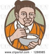 Vector Clip Art of Retro Woodcut Senior Lady Holding a Mixing Bowl in a Green and Brown Oval by Patrimonio