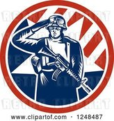 Vector Clip Art of Retro Woodcut Soldier Saluting and Holding a Gun Inside an American Circle by Patrimonio