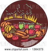 Vector Clip Art of Retro Woodcut Still Life of Harvest Vegetables and Fruit with Trees in a Brown Circle by Patrimonio