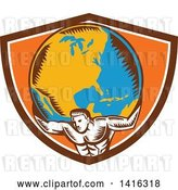Vector Clip Art of Retro Woodcut Strong Guy, Atlas, Holding Earth on His Shoulders in a Brown White and Orange Crest by Patrimonio