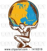 Vector Clip Art of Retro Woodcut Strong Guy, Atlas, Kneeling and Holding Earth on His Shoulders by Patrimonio