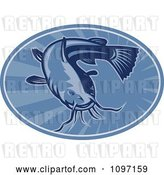 Vector Clip Art of Retro Woodcut Styled Blue Bullhead Catfish Oval by Patrimonio