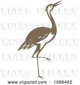 Vector Clip Art of Retro Woodcut Styled Brown Crane or Heron Bird by Patrimonio